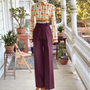 Vintage 70s Brown Perma-Prest Wide Leg Trousers